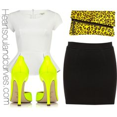 A fashion look from June 2012 featuring peplum top, short skirts and heel pump. Browse and shop related looks.
