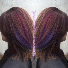 Brown with purple and pink peekaboos
