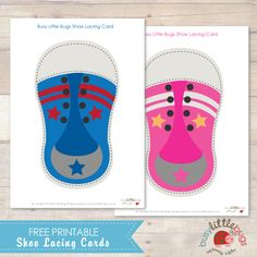 Imprimible gratuito para practicar el atarse los cordones >> Free Shoe lacing cards