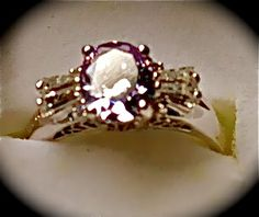 Simulated Lavender and White Diamond Ring in Silver Tone TGW 6.81 Size 9      $50.00