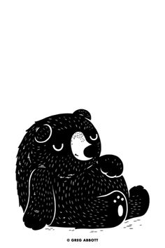 black and white ink sleepy bear illustration. Or is he full from eating too much? Either way, he's a cutie bear.