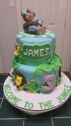 Amyu0027s Crazy Cakes   Jungle Animal Baby Shower Cake