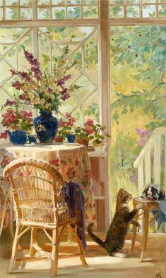 Cats by Russian artist Novosadyuk Svyatoslav Paintings Art And Illustration, Great Paintings, Beautiful Paintings, Fantasy Kunst, Fantasy Art, Romantic Drawing, Cat Art, Painting & Drawing, Flower Art