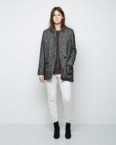 Shop Fashion on La Garconne, an online fashion retailer specializing in the elegantly understated. Denver, Herringbone Fabric, Black Wool Coat, Short, Outerwear Jackets, Jeans, Normcore, Style, Size Model