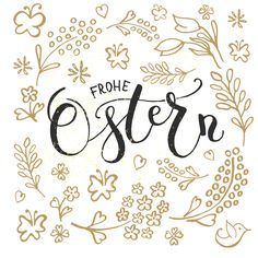 Frohe Ostern Lettering Calligraphy  by Alps View Art on Creative Market