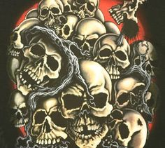 Mafia 20 Skulls Black Long Sleeve Motorcycle T Shirt