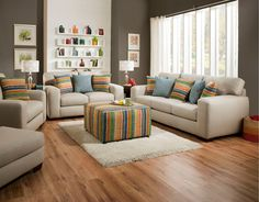 Spain Pebble White Upholstered Contemporary Sofa