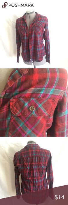 Eddie Bauer Flannel Shirt Flannel shirts with reds and teal colors. Great condition. Eddie Bauer Tops Button Down Shirts
