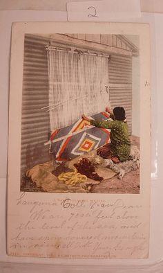 Vintage Indian postcard 1901 Navajo Blanket by NeatstuffAntiques, $15.00