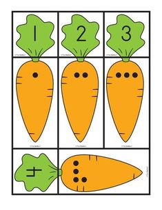 Carrot Cards: matching sets and numbers, Lesson Plans - The Mailbox Preschool Centers, Preschool Learning Activities, Toddler Learning, Educational Activities, Preschool Activities, Preschool Garden, Kindergarten Math Worksheets, Learning Numbers, Math For Kids