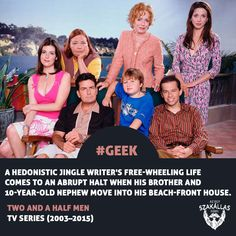 Two and a Half Men TV Series A hedonistic jingle writer's free-wheeling life comes to an abrupt halt when his brother and nephew move into his beach-front house. Two And A Half, Half Man, Men Tv, Geek Games, Wheeling, 10 Year Old, House Front, Geeks, Tv Series