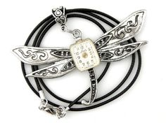 Steampunk Dragonfly Pendant  Silver Dragonfly by SteamSect on Etsy