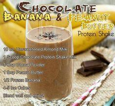 Chocolate Banana Peanut Butter Protein Shake by USA Flag Co. - Chocolate Banana Peanut Butter Protein Shake by USA Flag Co. Protein Desserts, Protein Smoothies, Chocolate Protein Smoothie, Yummy Smoothies, Chocolate Shakeology, Healthy Protein, Smoothie Drinks, Smoothie Diet, Peanut Butter Protein