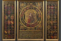 Un tríptico que representa a Carlos I de España Pottery Painting Designs, Paint Designs, Austria, Vintage World Maps, Knights, Royals, Libros, Life, Coat Of Arms