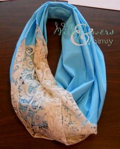 Lace fabric & linen make a pretty circle scarf (would be great with hand dyed cotton lace)