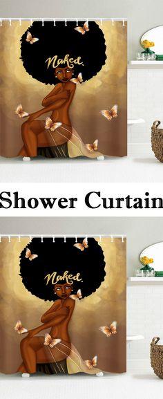 Afro Hair Fashion Girl Have A Bath Shower Curtain Afro Shower Curtain, African Shower Curtain, Black Shower Curtains, Brown Curtains, Double Curtains, Yellow Curtains, Velvet Curtains, Floral Curtains, Rustic Curtains