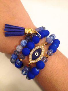 Gorgeous Blue Mixed Crystal and Gemstone Tassel Evil Eye Arm Candy Bracelet Set