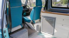 interior from Dubteriors with carpeting, upholstery, flooring, custom cream and oak interior units, electrics and water system T3 Vw, Volkswagen Bus, Camper Interior, Campervan, Upholstery, Flooring, Camper Ideas, Inspiration, Cars
