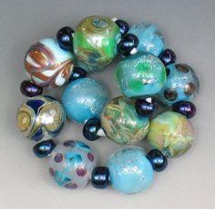 SJC Lampwork 12 handmade silver glass & dichroic round beads ~SRA~ USA~ #SJCLampwork #Lampwork