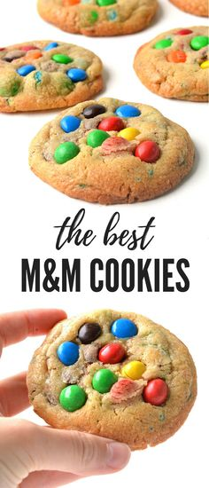 My all-time favourite go-to cookie recipe! Soft and chewy M&M cookies absolutely packed with candy. These easy cookies take minutes to make and seconds to eat! Recipe from sweetestmenu.com #cookies #mms #candy #dessert #baking
