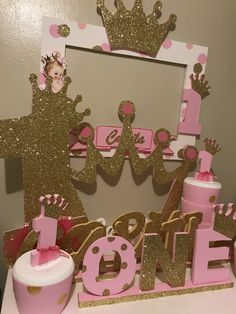 57 Ideas Baby Shower Ideas Princess First Birthdays Princess Theme Birthday, Pink And Gold Birthday Party, Cinderella Birthday, Baby Girl 1st Birthday, Princess Birthday Centerpieces, Princess Party, Birthday Party Decorations, 1st Birthday Parties, Crown Party