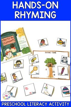 Preschool and Pre-K Rhyming Activity: This activity is inspired by the book Strictly No Elephants. This activity is part of a pack of 8 activities to go along with this book. Use them at home with your kids or in the classroom with students. Includes printable activities for literacy (rhyming), math (numbers and counting), fine motor (cutting) & gross motor. Also includes a Kindness Craft, a Friendship Recipe, & a journal writing page. Kids of all ages (even toddlers) will have fun with… Kindness Activities, Rhyming Activities, Hands On Activities, Gross Motor, Fine Motor, Friendship Recipe, Preschool Phonics, Animal Movement, Math Numbers