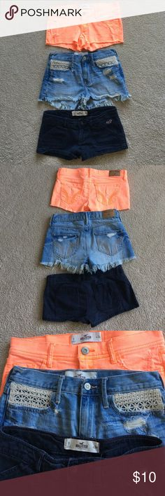 5 pairs Hollister size 0 Shorts Great condition!  4 Denim (1 Gray, 2 Blue, 1 orange) and 1 Navy Blue Chino Hollister Shorts