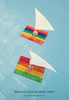Fun Popsicle Stick Kids Crafts – diy Thought Eis am Stiel Boote. 12 lustige Eis am Stiel Kinder basteln. Kids Crafts, Boat Crafts, Camping Crafts, Summer Crafts, Craft Stick Crafts, Toddler Crafts, Preschool Crafts, Diy And Crafts, Arts And Crafts