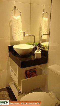 para banheiros/lavabos pequenos, moderno e com porta revistas muito interessante.
