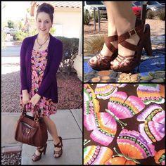 Butterfly dress and purple cardigan Purple Cardigan, Butterfly Dress, Boho Chic, Girly, How To Wear, Dresses, Style, Women's, Vestidos