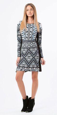 Black & Blue Printed Jersey A Line Dress