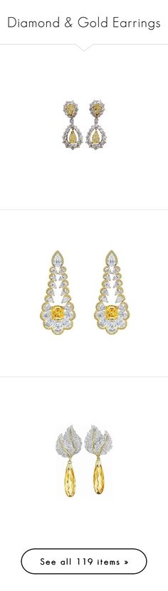 """Diamond & Gold Earrings"" by sakuragirl ❤ liked on Polyvore featuring jewelry, earrings, jewels, brinco, silver earrings, diamond jewelry, diamond earrings, diamond jewellery, chopard jewelry and chopard earrings"