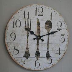 Horloge couverts deco cuisine Rétro Chic
