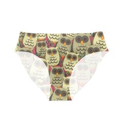 Cute cartoon owls all-over. Cartoon Owls, Cute Cartoon, Women's Briefs, Owl Patterns, Underwear, Brown, Pants, Trouser Pants, Brown Colors