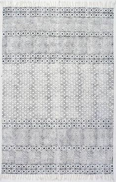 Rugs USA Gray Chembra Block Printed Cotton Flatweave Varied Bands rug - Contemporary Rectangle 3 x 5