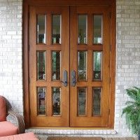 White Stained Wooden Sliding Patio Glass Door Using Ivory Curtain ...