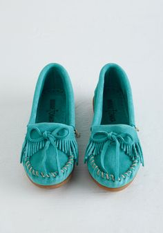 Fundamental Footwork Flat in Aqua by Minnetonka - Flat, Leather, Suede, Blue, Solid, Bows, Casual, Boho, Vintage Inspired, 60s, 70s, Festival, Better, Variation, Fringed, Gals