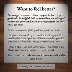 Excerpt from: Want to feel better? #zerosophy