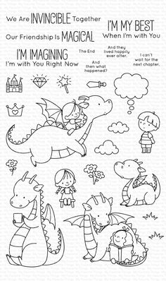 My Favorite Things Magical Friends Clear Stamps Doodles, Cute Dragons, Mft Stamps, Art Plastique, Colouring Pages, Clear Stamps, Doodle Art, Easy Drawings, Doodle