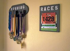 @Amy Lyons Goessl McCullough I thought of you and Sam when I saw these...medals and race numbers