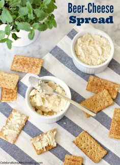 This beer-cheese spread is a great party appetizer. Serve it for game day or any casual entertaining at home. Appetizer Dips, Yummy Appetizers, Appetizers For Party, Appetizer Recipes, Party Snacks, Beer Cheese, Swiss Cheese, Dip Recipes, Snack Recipes