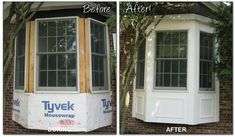 Azek trim for bay window. Looks much nicer than just having siding wrapped around it below the windows.