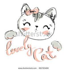 Hand Drawn Vector Illustration of cute cat vector illustration, print design cat, children print on t-shirt, sketch cat, kitten.