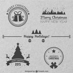 Christmas Monochrome vectors #xmas (Freepik)