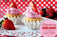 Strawberry Milkshake Cupcakes via TidyMom