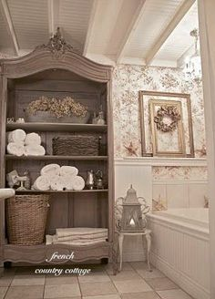 @Courtney French Country Cottage's bathroom is incredibly charming. Lots of before and after pics!
