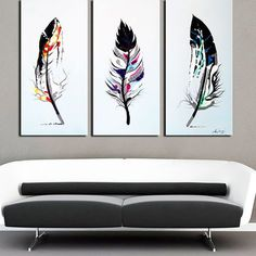 DESIGN ART Feathers' 3-piece Hand-painted Oil on Canvas ArtAbstract... ($126) ❤ liked on Polyvore featuring home, home decor, wall art, oversized paintings, 3 piece painting, canvas paintings, horizontal wall art and oversized canvas wall art