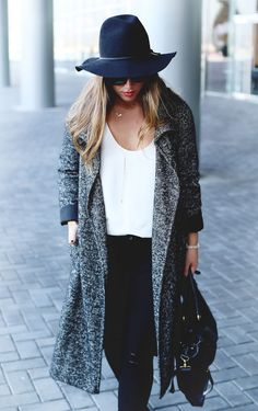 Black floppy hat, ripped black skinny jeans, black leather bag, grey wool trench coat. #style #fashion #fall #fashion