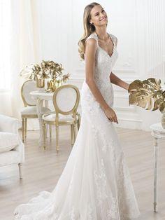 Trumpet/Mermaid V-neck Organza Lace Wedding Dresses #BK940