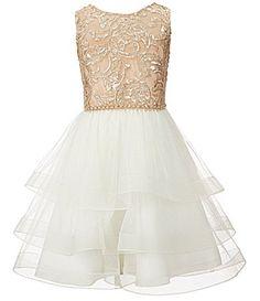 663c0a5a938 Chantilly Place Big Girls 7-16 Sequin-Bodice Tiered-Skirt Dress